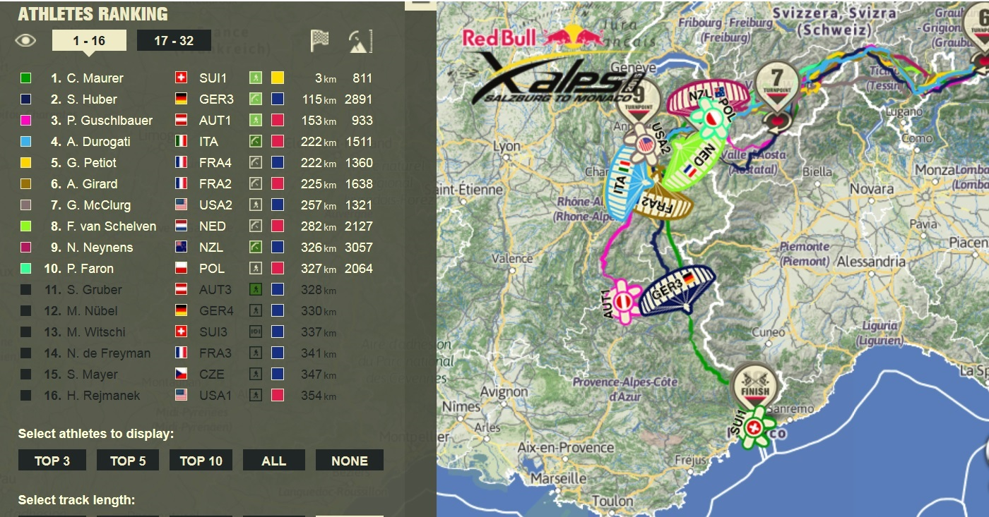 Positionen der Athleten bei Redbull XAlps kurz vor der Ankunft von Chrigel Maurer am Ziel in Monaco.