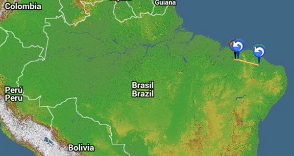 Der Track zum Rekordflug von Frank Brown am 9. Oktober 2015 in Brasilien auf der Landkarte von Nordbrasilien.