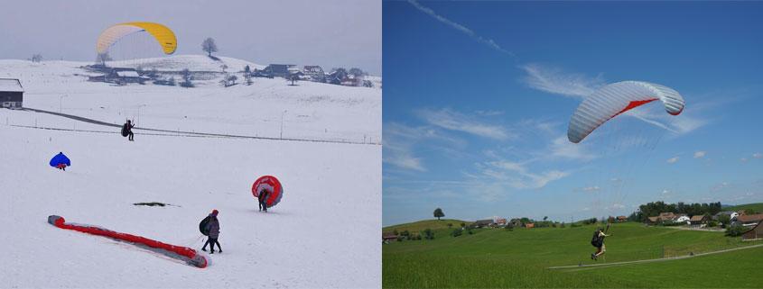 Übungshang in Hütten (ZH). Links im Winter 2015, rechts im Sommer 2015